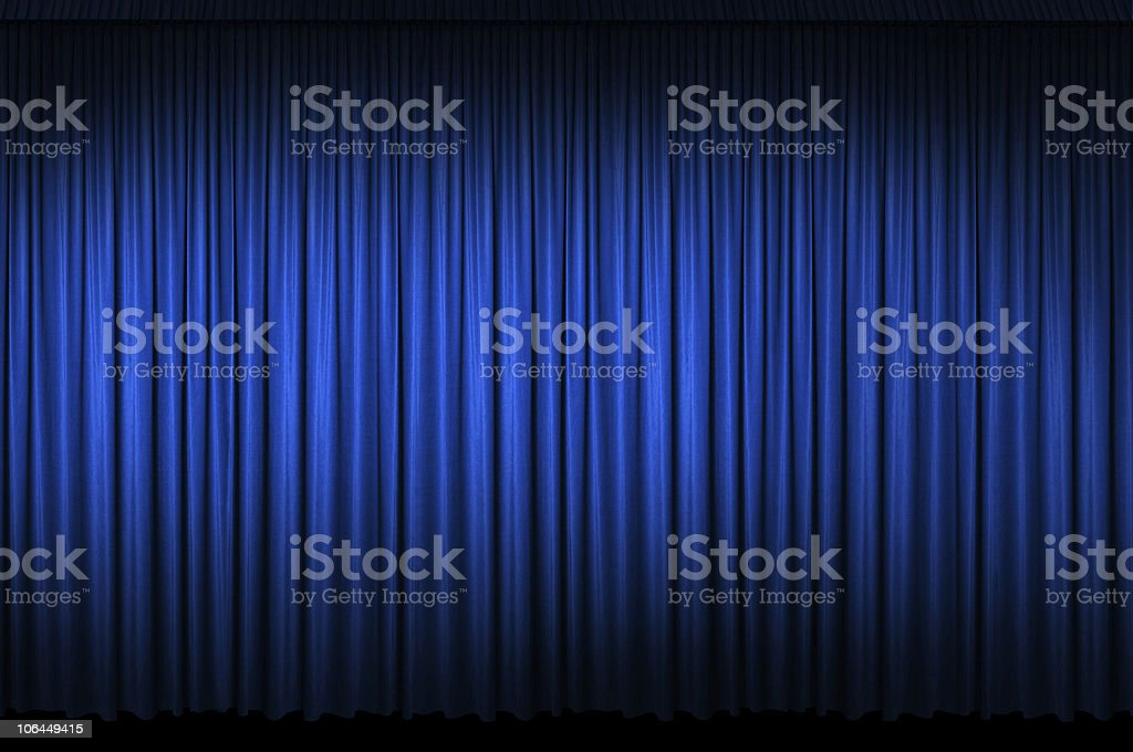 Large Blue Stage Curtain stock photo