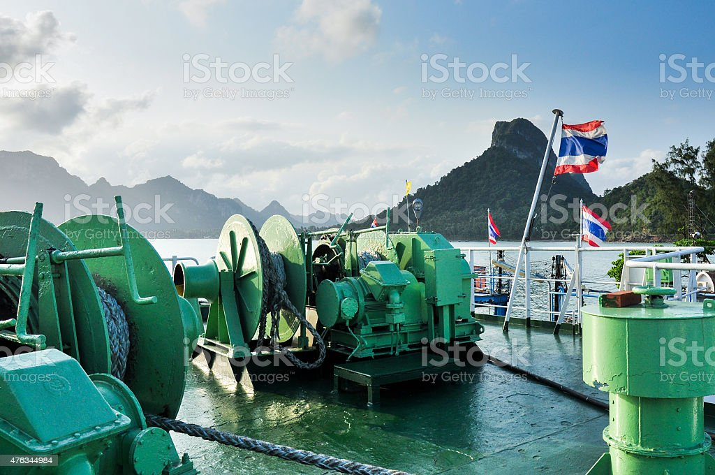 Large boat winch on the deck stock photo
