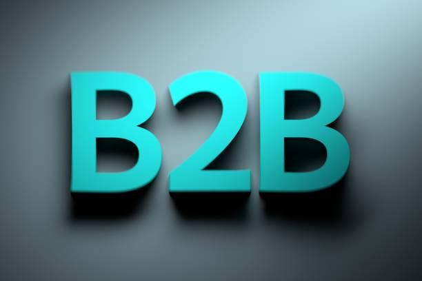 Large bold blue B2B letters stock photo