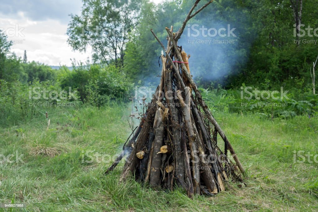 Large bonfire from a dry cripple burns in the forest, against the background of trees. stock photo