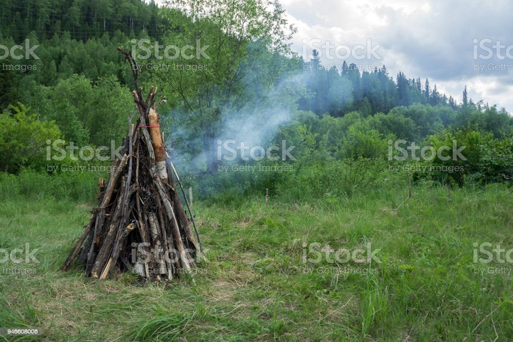A large bonfire from the dry crippled wood burns in the forest, against the background of the forest. stock photo