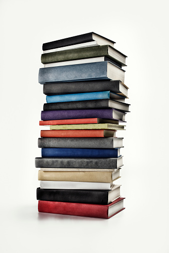 Large Pile of Books on white background