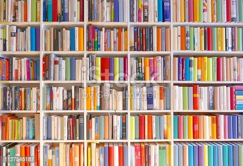 istock Large books shelves fully packed 1127545187