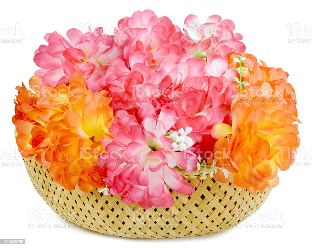 large bouquet artificial flowers isolated stock photo