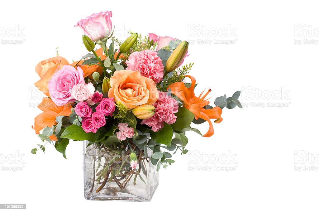 A large bouquet of multicolored flowers of different species stock photo