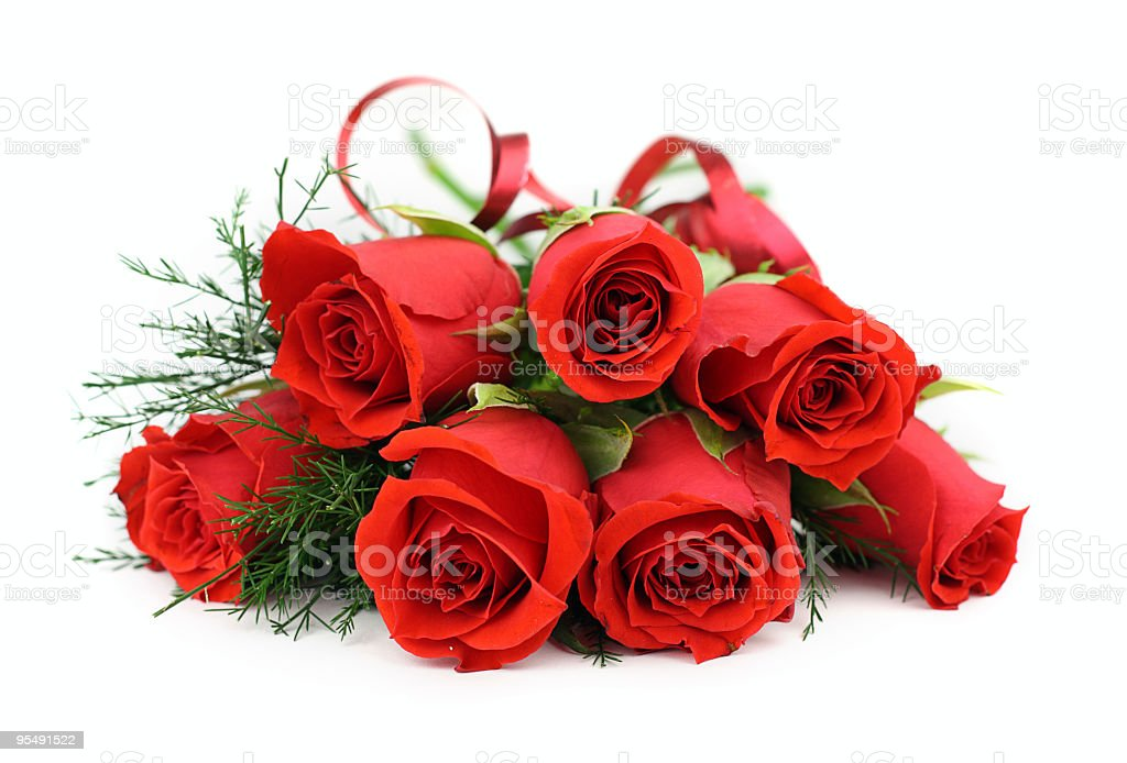 Large bouquet of red roses on a white background royalty-free stock photo
