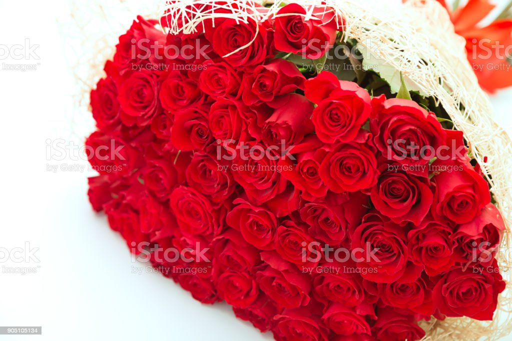 Large bouquet of red roses stock photo