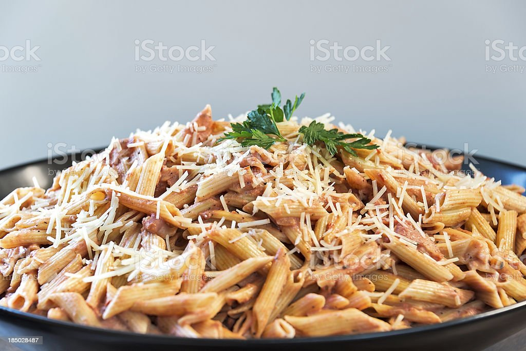 Large bowl of Penne A La Vodka pasta royalty-free stock photo