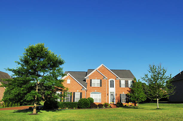Large brick single family home in Brentwood Tennessee stock photo