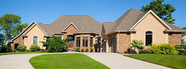Large Brick Stucco Mansion Home Panorama stock photo