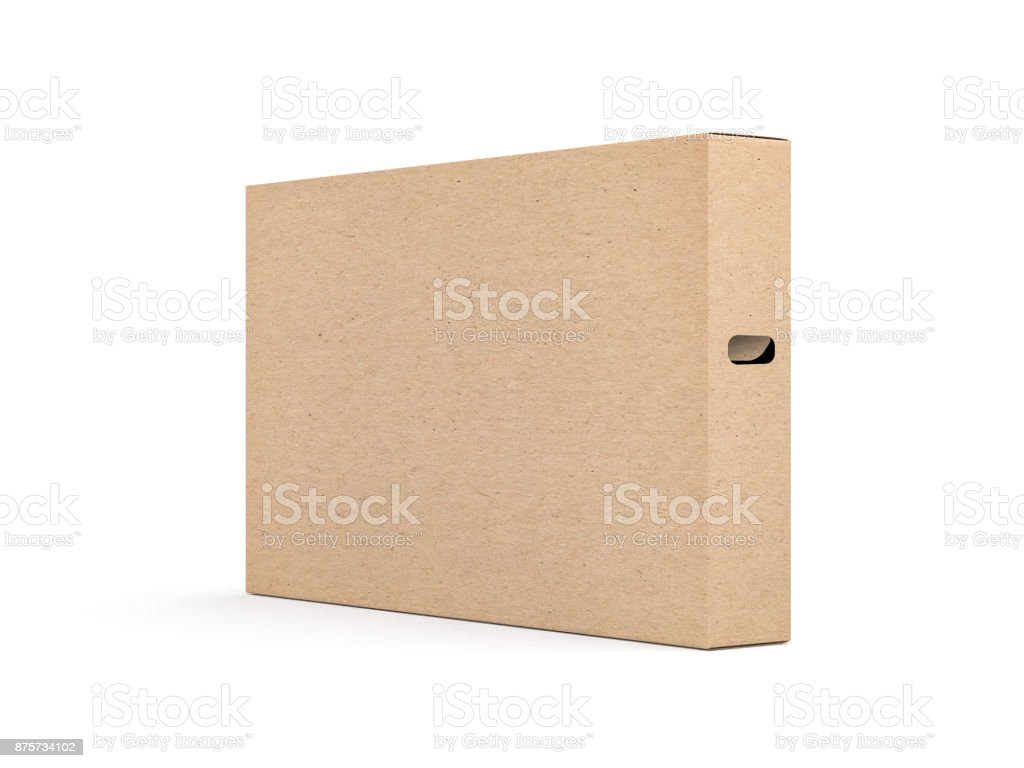 Large brown cardboard textured box packaging Mockup for smart tv set stock photo