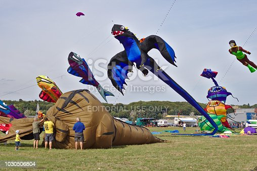 Colorful kite flying in blue sky. Dark dragon.