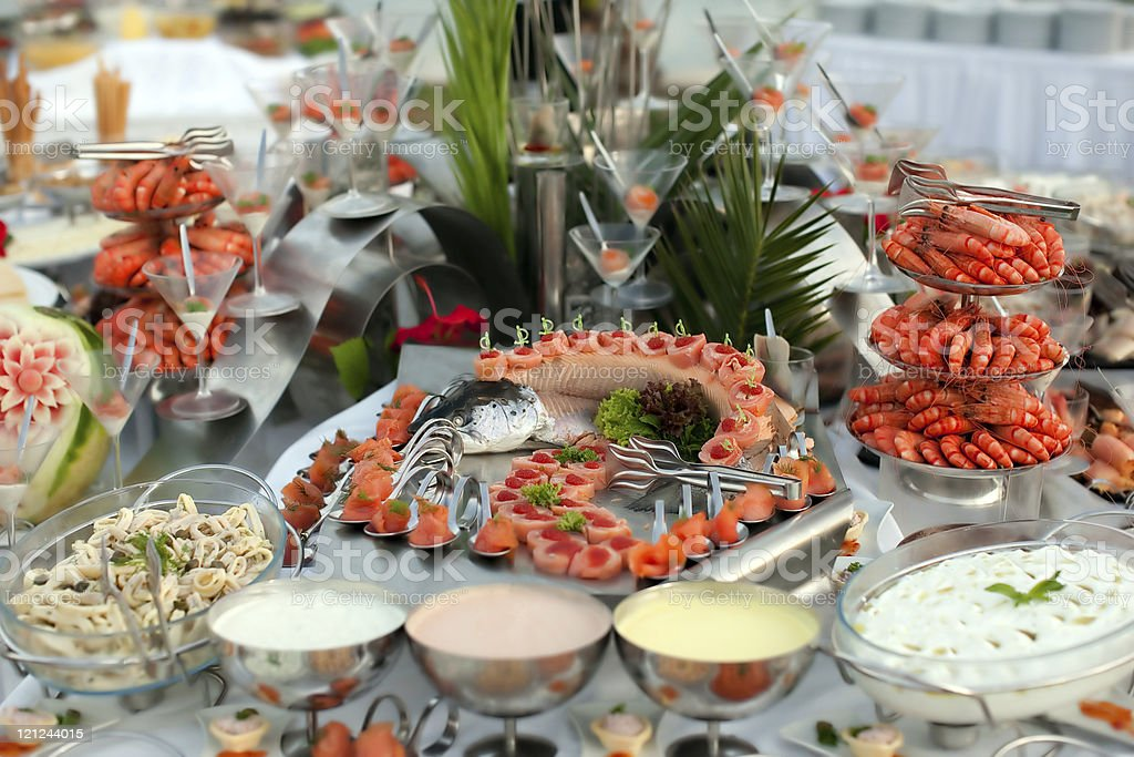 Large buffet with variety of seafood royalty-free stock photo