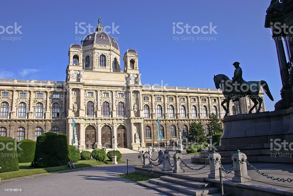 Large building and statue in Vienna, Austria royalty-free stock photo