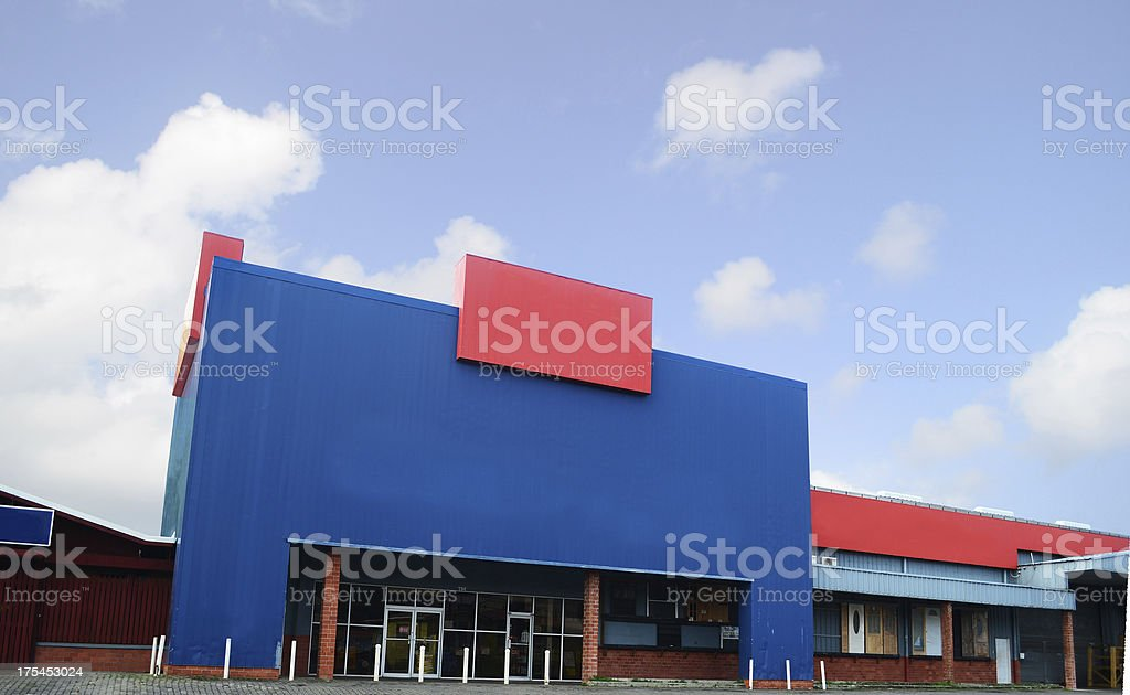 large building storefront with copyspace stock photo