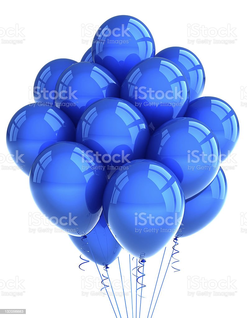 Large bunch of blue party balloons on white background stock photo