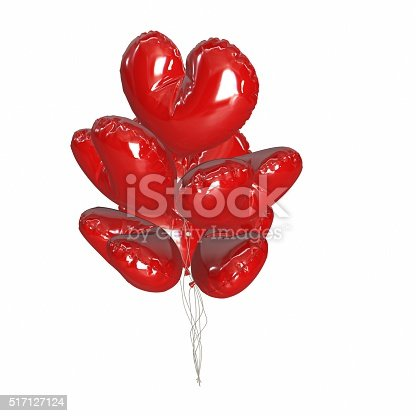 815229514 istock photo Large bunch of bright and shiny red balloons, heart shape. 517127124