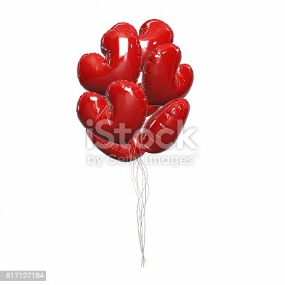 815229514 istock photo Large bunch of bright and shiny red balloons, heart shape. 517127184