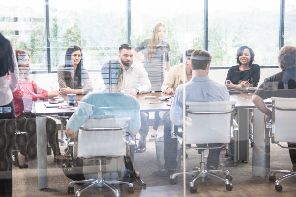 Large Business Meeting in a Conference Room stock photo