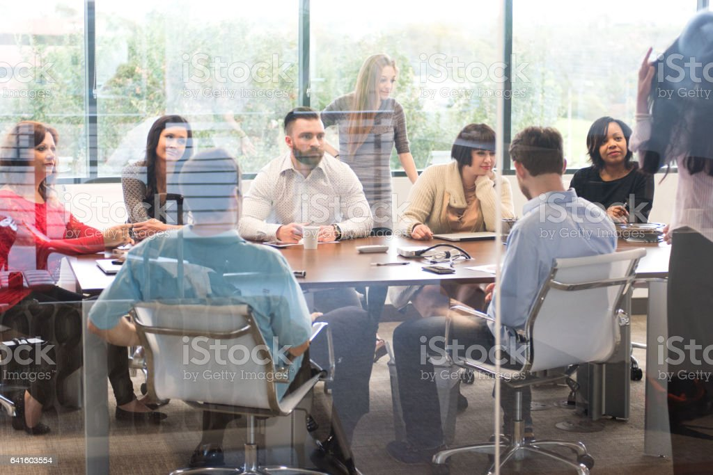 Large Business Team Meeting in the Office Conference Room stock photo