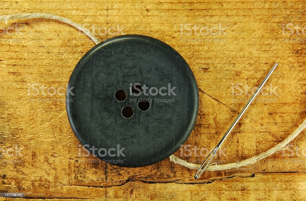Large Button with Needle royalty-free stock photo