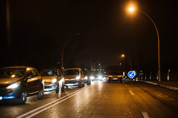 Large car traffic jam queue between France and Germany