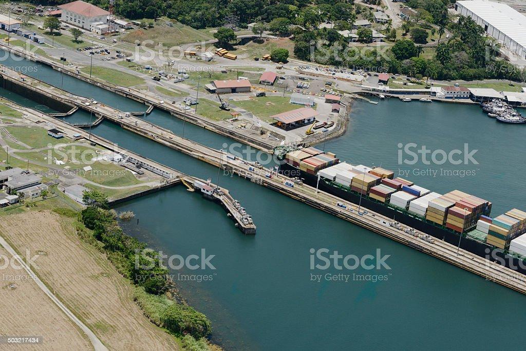 large cargo ship exiting Gatun Locks, Panama Canal stock photo