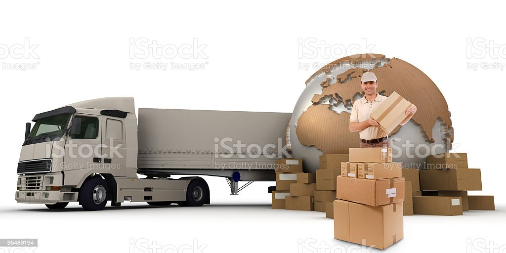 Large cargo transporter and piles of boxes royalty-free stock photo