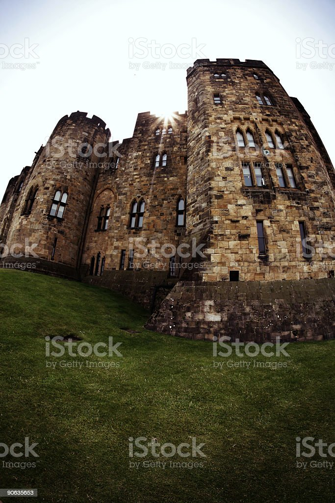 Large Castle in Alnwick England stock photo