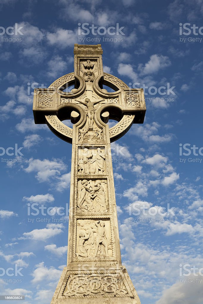 Large Celtic Cross With Blue Sky In Background royalty-free stock photo