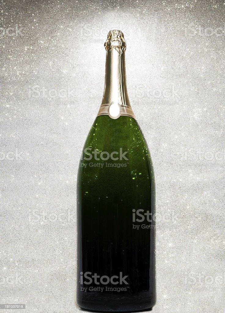 Large champagne bottle stock photo