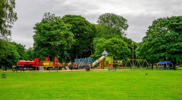 Large children playground in Seaton Park, Aberdeen city, Scotland stock photo