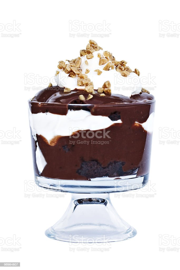 A large chocolate trifle in a glass stock photo