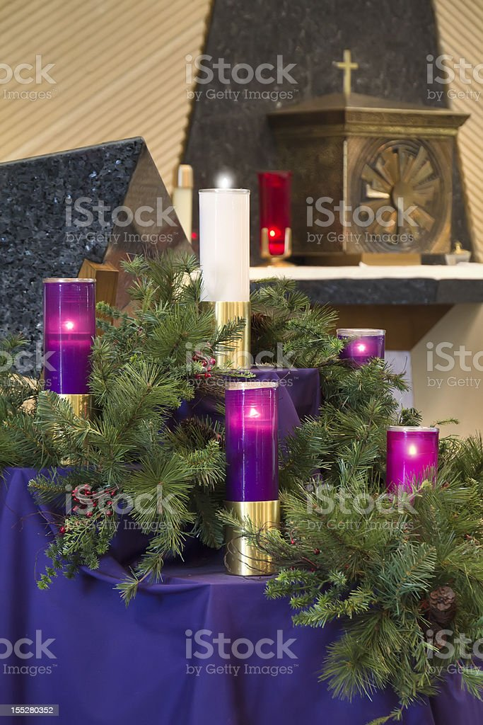 large christmas advent wreath candles for catholic church celebration royalty free stock photo - Do Catholics Celebrate Christmas