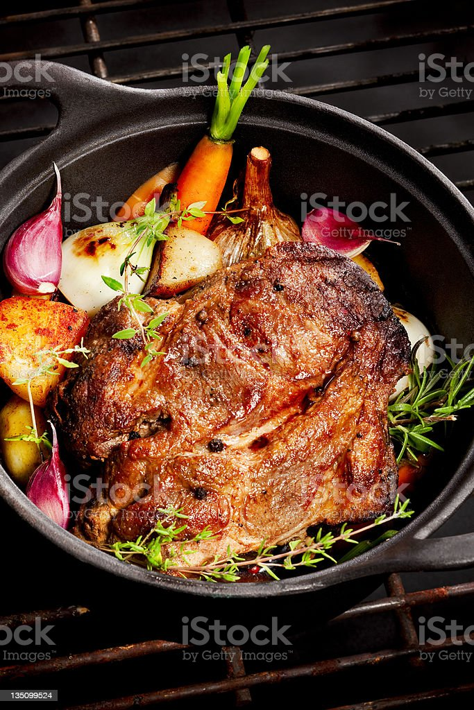 Large chunk of meat on the pot royalty-free stock photo