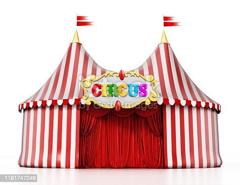 Large circus tent isolated on white.