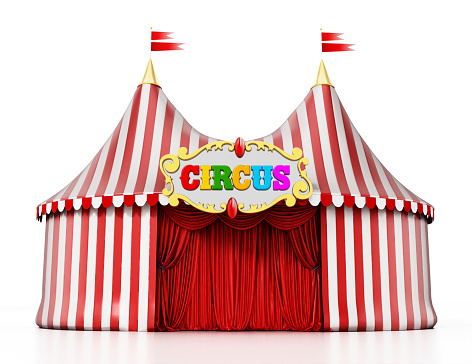 Large Circus Tent Isolated On White Stock Photo - Download Image Now -  iStock