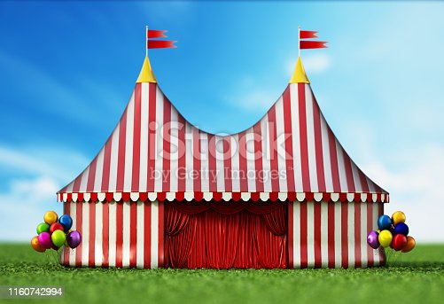Large circus tent standing on green grass area.