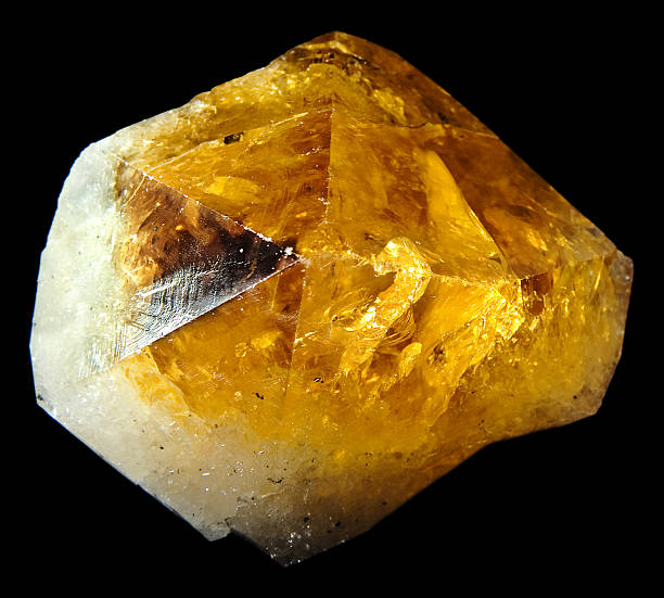 Large citrine quartz crystal in natural state stock photo