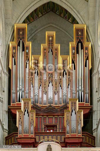 Madrid, Spain - 14 February 2020: A large classic organ in the church of Madrid.