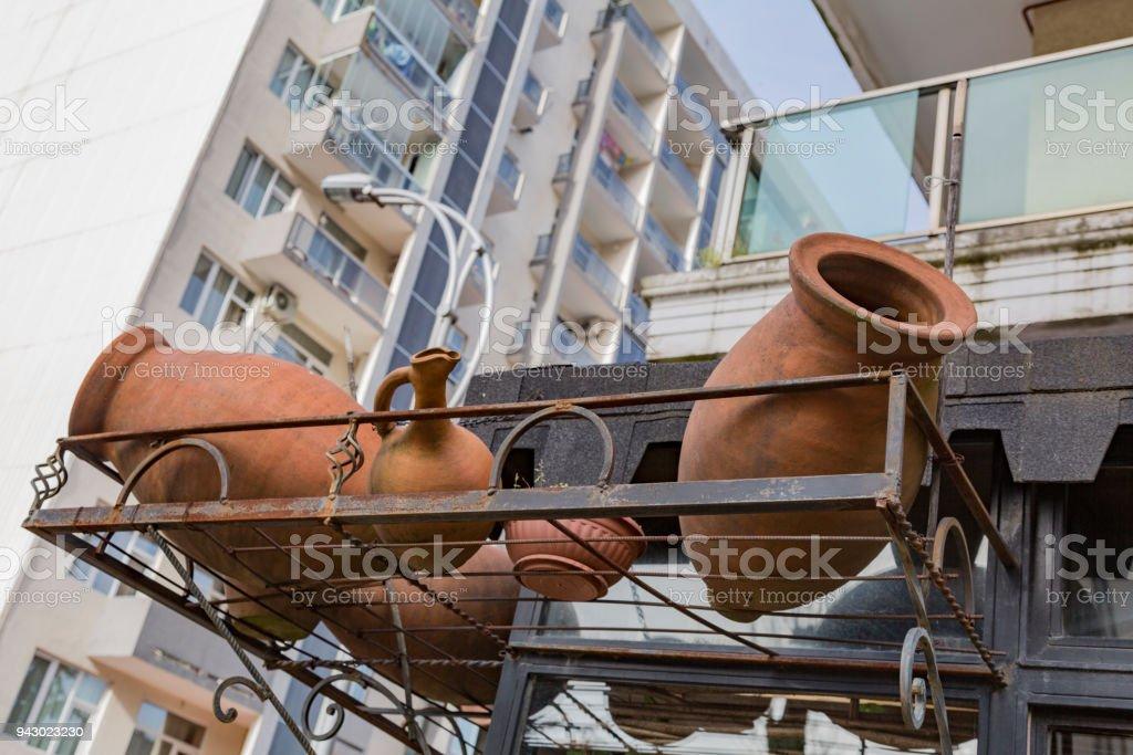 Large clay jug stock photo