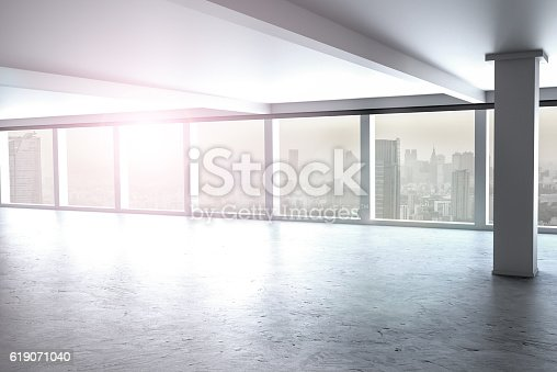 large clean designer office window to skyline 3D Illustration