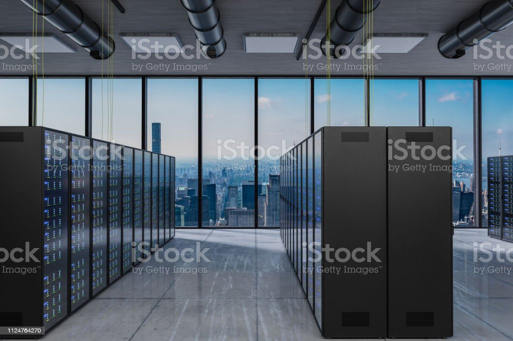 large modern server room with skyline view large windows, 3D...