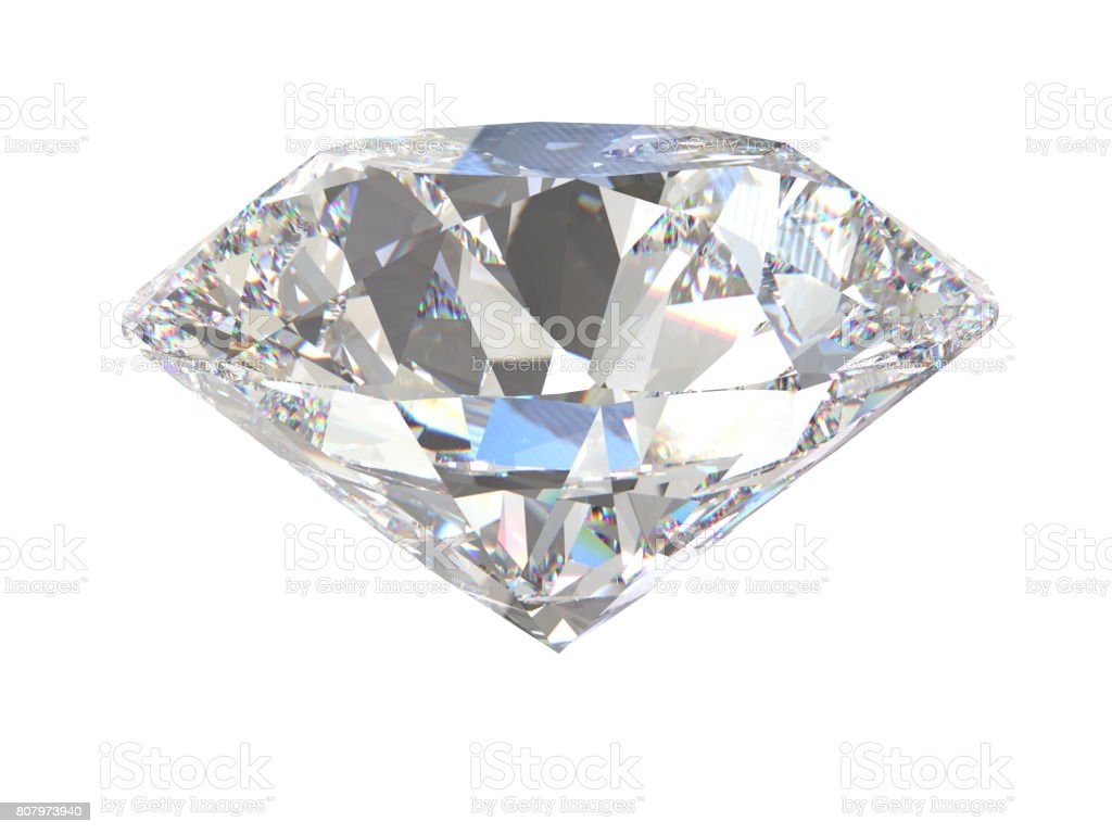 Large Clear Diamond isolated. 3d stock photo