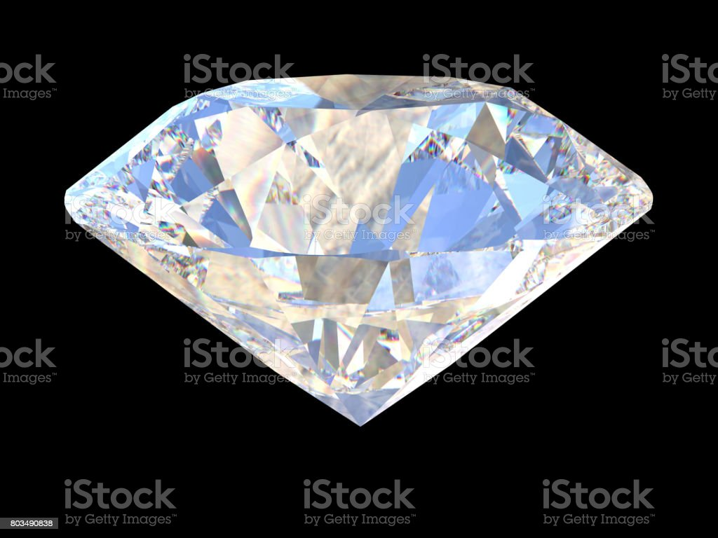Large Clear Diamond on dark background. 3d stock photo
