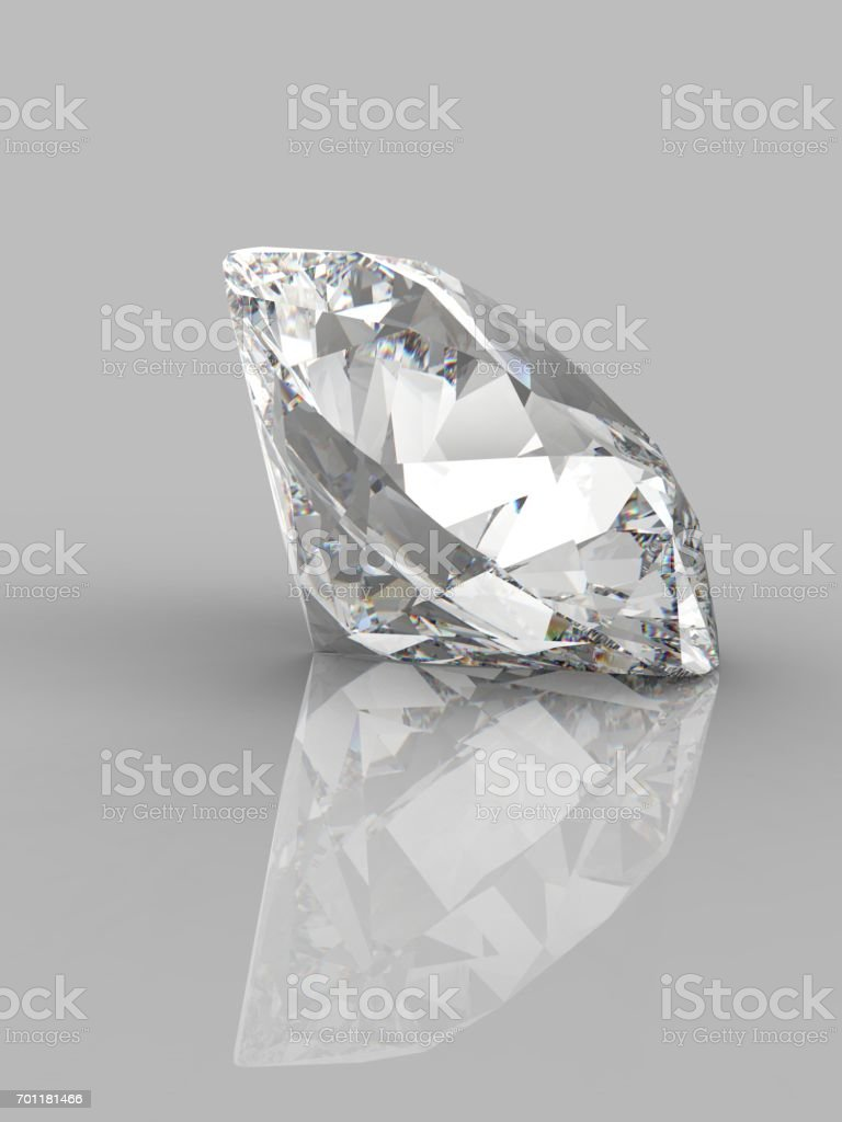 Large Clear Diamond with reflection on white background. 3d stock photo