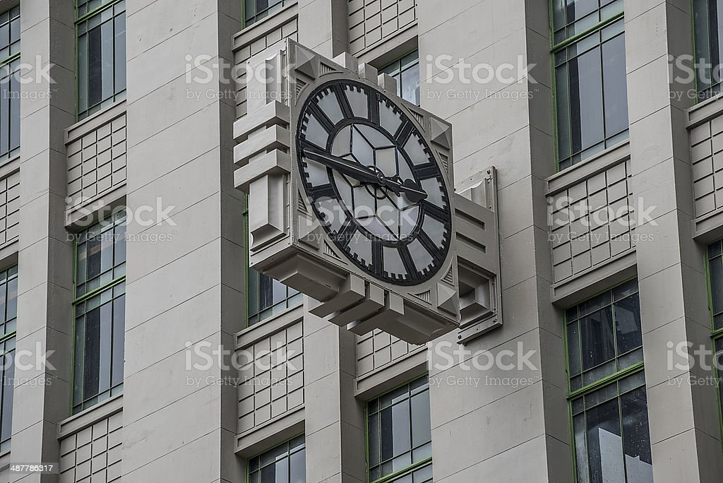 Large Clock on Building Facade stock photo
