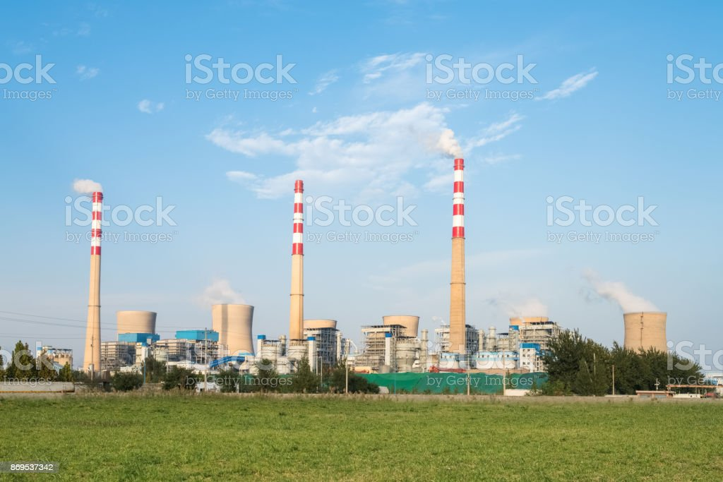 large coal-fired power plant stock photo