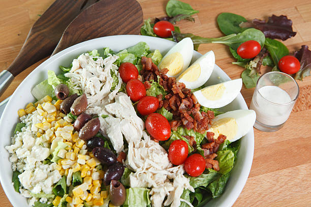 Large Cobb Salad with Dressing stock photo