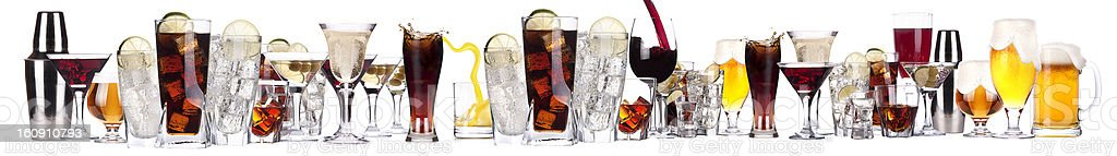 Large collection of a row of alcohol drinks stock photo
